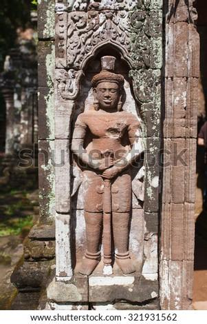 Lintel of Upper Level Sanctuary at Champasak in Lao - stock photo