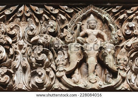 Lintel of Upper Level Sanctuary at Wat Phu in Lao - stock photo