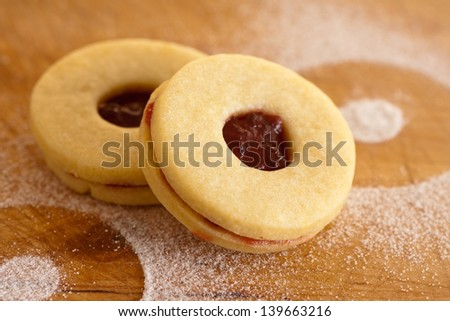 Linzer cookie with cherry jam - stock photo