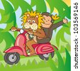 lion and a monkey on a bike - stock photo