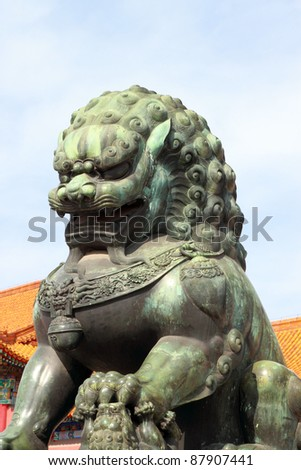 lion at entrance of The Forbidden City in Beijing, China - stock photo