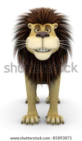 lion cartoon smiling - stock photo