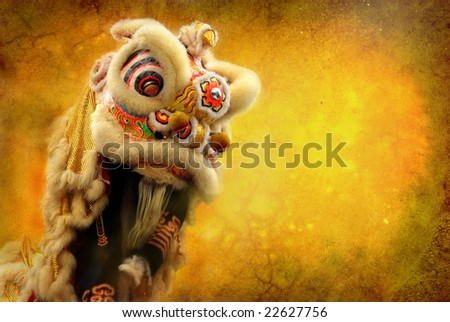 lion dance isolated on highly detailed textured grunge background frame - stock photo
