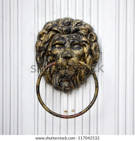 Lion door knocker on white door - stock photo