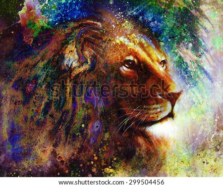 lion face profile portrait, on colorful abstract feather pattern background. - stock photo