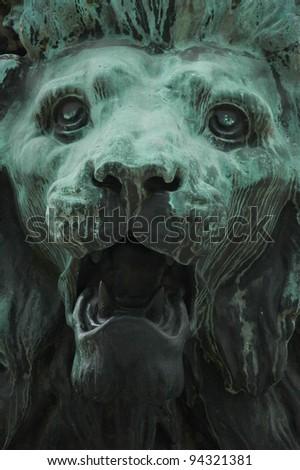 Lion Face Sculpture - stock photo