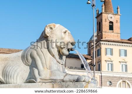 Lion Fountain in Piazza del Popolo, Rome italy - stock photo