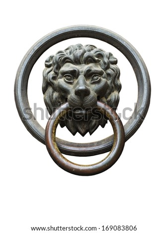 lion head door knocker as the ring isolated on white