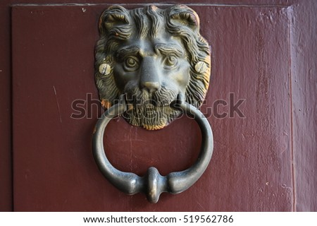 Lion Head Door Knocker on scarlet background & Brass Door Knocker Stock Images Royalty-Free Images \u0026 Vectors ... Pezcame.Com