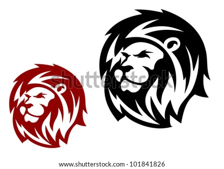 Lion head in two variations for heraldic or mascot design, such logo. Vector version also available in gallery - stock photo