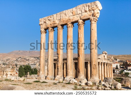 Lion head sculpture at ancient Roman Empire ruins in Baalbeck, Lebanon - stock photo