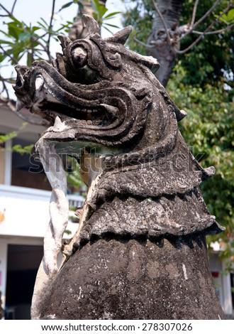 Lion head statue - stock photo