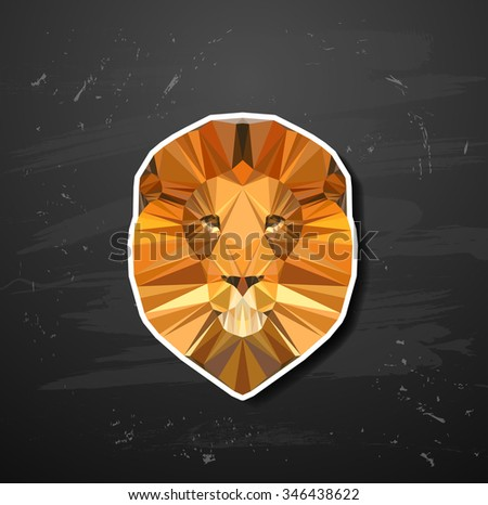 lion in the style of origami abstract triangle polygonal - stock photo