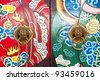 Lion knocker on surface of chinese door (Generality in Thailand,any kind of art decorated in Buddhist church etc. created with money donated by people, no restrict in copy or use) - stock photo
