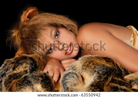 Lion or Leo woman, this photo is part of a series of twelve Zodiac signs of astrology - stock photo