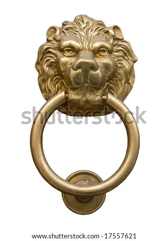 Lion\u0027s head door knocker isolated on black