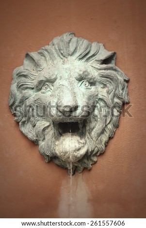 Lion sculptures spraying water on wall background