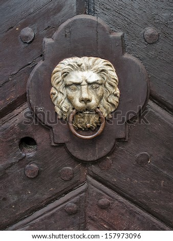 lion-shaped door knocker on an old door  - stock photo