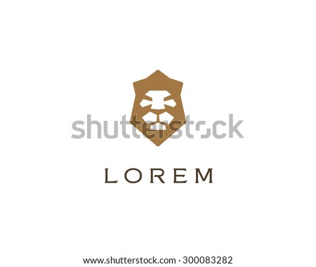 Lion shield logo design template. Universal premium elegant creative symbol. Lion face crown logotype emblem template for business, t-shirt design.  - stock photo