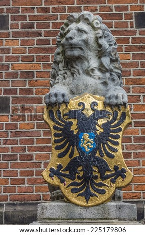 Lion statue at the waag in Nijmegen, the Netherlands - stock photo
