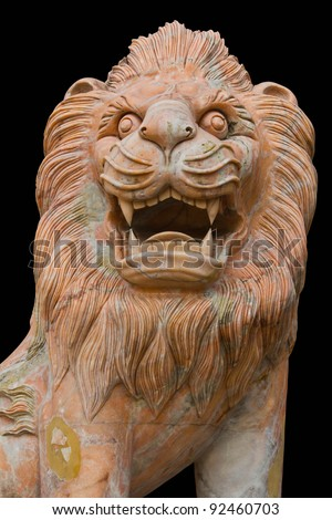Lion Statue, Isolated on black background. - stock photo
