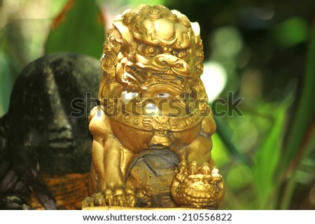 Lion statues - stock photo