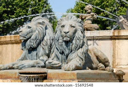 Lion statues in Aix-en-Provence, southern France - stock photo