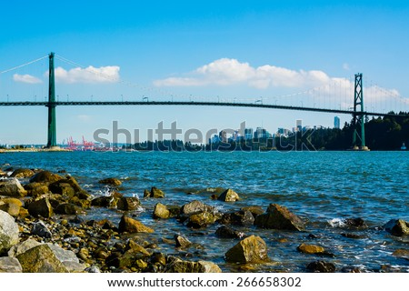 Lions Gate Bridge in Vancouver, Canada  - stock photo