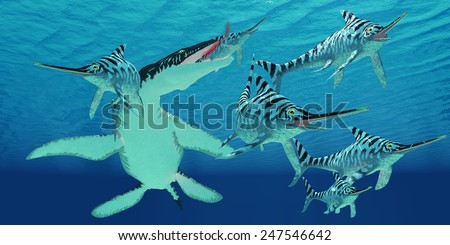 Liopleurodon attacks Eurhinosaurus - A pod of Eurhinosaurus marine reptiles try to evade the much larger Liopleurodon in Jurassic seas. - stock photo