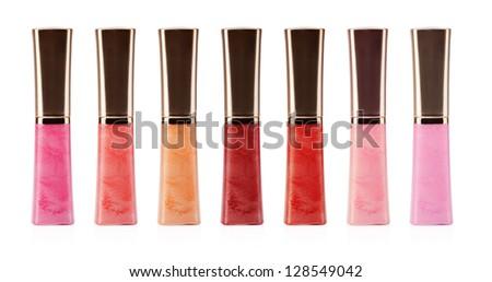 lip gloss bottle on white background - stock photo