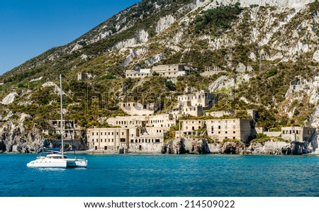 Lipari island and ancient fortifications view from cruise sailing boat - stock photo