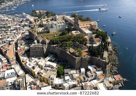 lipari storic middletown from above, messina, sicily, italy, europe - stock photo