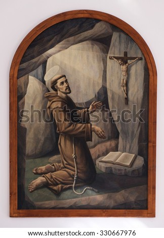 LIPIK, CROATIA - MAY 07: Saint Francis of Assisi, altarpiece in the Church of Saint Francis of Assisi in Lipik, Croatia on May 07, 2015