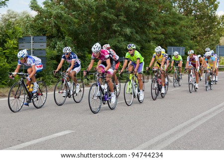 """LIPPIANO, PERUGIA, ITALY - JULY 30: Various Cyclists during the 42th """"Trofeo Tosco Umbro"""" on July 30, 2011 in Lippiano, Perugia, Italy - stock photo"""
