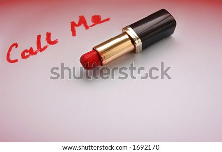 Lippy Talk,  love message written with old bright red Lipstick - stock photo