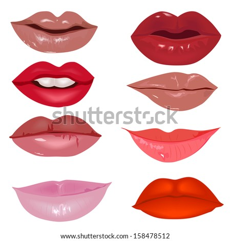 Lips, bitmap - stock photo