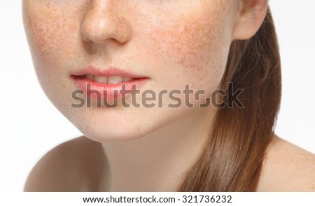 lips nose and shoulders beautiful woman face portrait young isolated on white  - stock photo