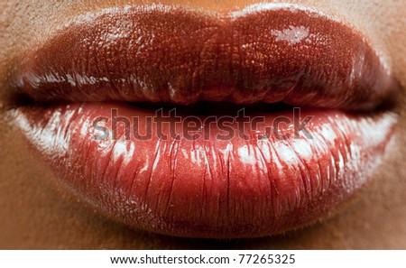 lips of a Beautiful black woman - stock photo