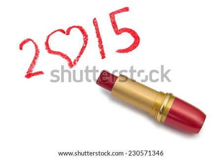 Lipstick and 2015 isolated on white background - stock photo