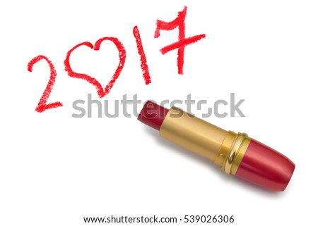 Lipstick and 2017 isolated on white background