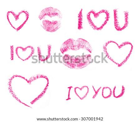 Lipstick drawings set - stock photo
