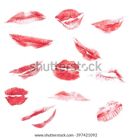 Lipstick Kiss / Lipstick kiss isolated on white , different shapes