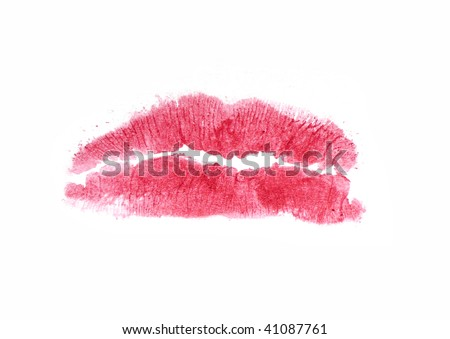 lipstick red kiss - stock photo