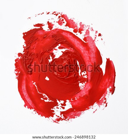 lipstick smudged look like a rose shape - stock photo
