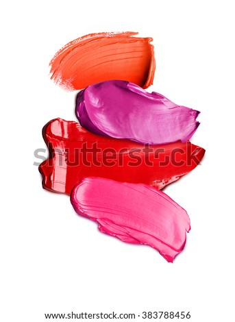 Lipstick textures on white background - stock photo