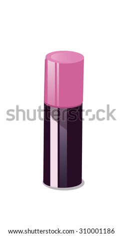lipstick, this is a cartoon lipstick with a pink cap, the plastic has a shiny appearance.