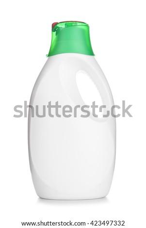 Liquid detergent in a plastic bottle with dispenser - stock photo