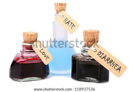 liquid feelings in vials isolated over white background... do not confuse... - stock photo