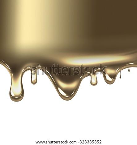 liquid gold on white background - stock photo