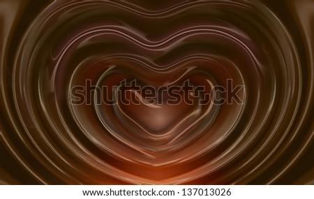 liquid hot chocolate heart shape - stock photo